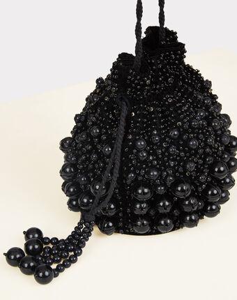 Schwarze handtasche in beutelform mit perlen reine schwarz.