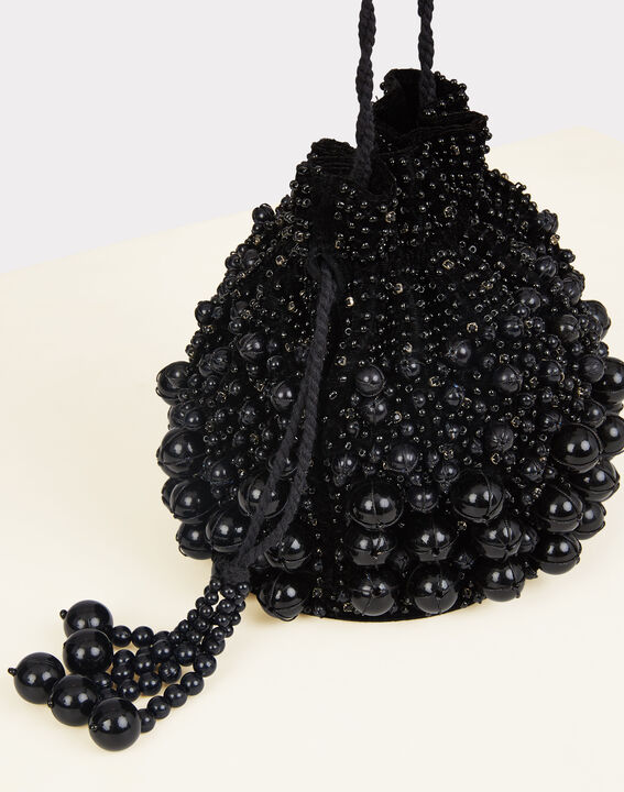 Pochette noire à perles forme bourse Reine PhotoZ | 1-2-3
