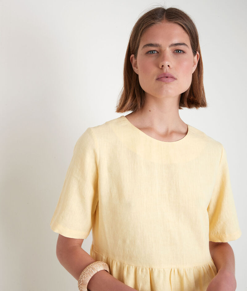 Kurzes Kleid aus zertifiziertem Bio-Leinen gelb Latoya PhotoZ | 1-2-3
