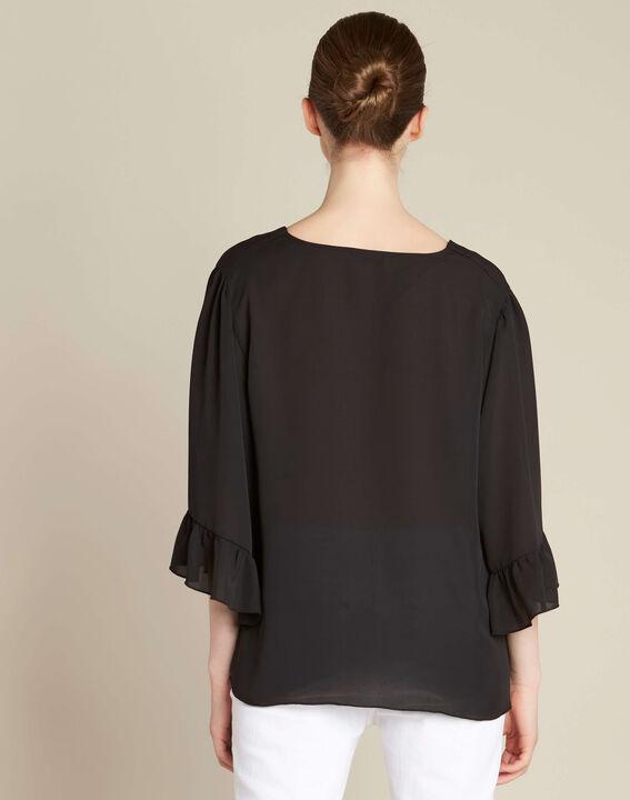 Schwarze Bluse mit Ösen und Bindeband Dora (4) - 1-2-3