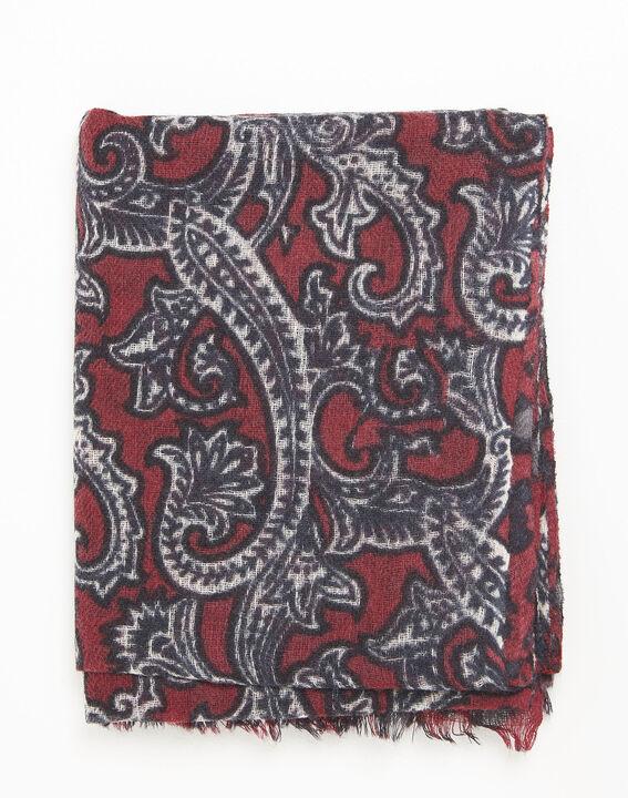 Fantine Red Printed Wool Scarf 2