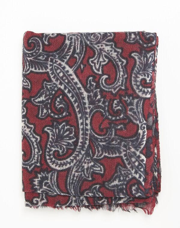 Foulard rouge imprimé en laine Fantine (2) - 1-2-3