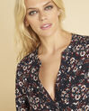 Clarisse navy blue printed blouse with eyelets on the neckline (3) - 1-2-3