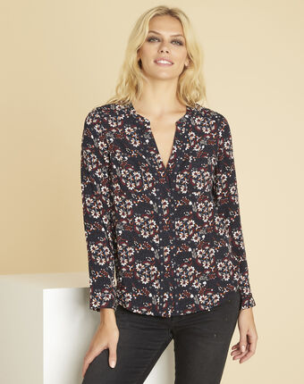 Clarisse navy blue printed blouse with eyelets on the neckline navy.