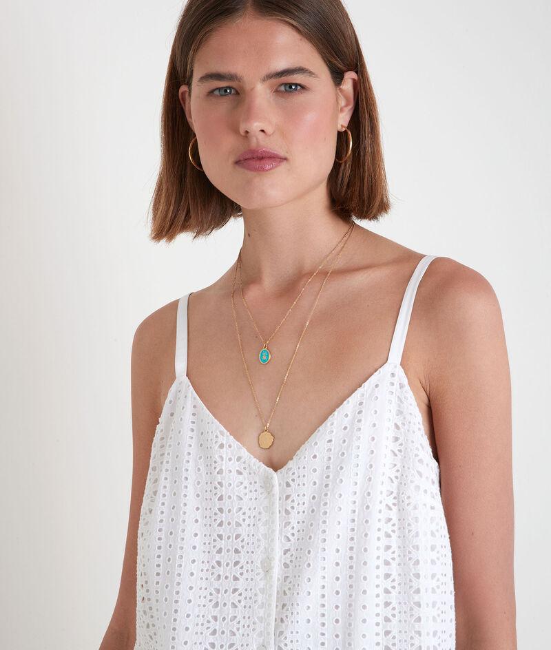 Robe mini à bretelles en broderie anglaise blanche Samia PhotoZ | 1-2-3