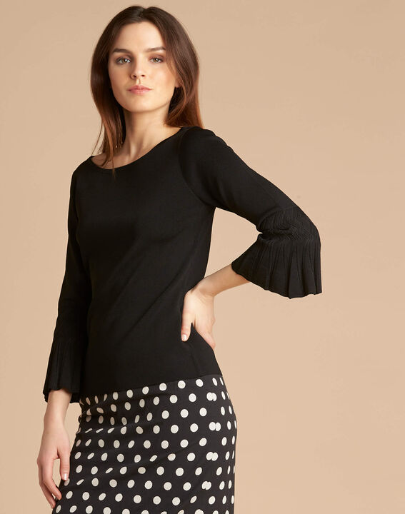 Nina black sweater with pagoda sleeves (3) - 1-2-3
