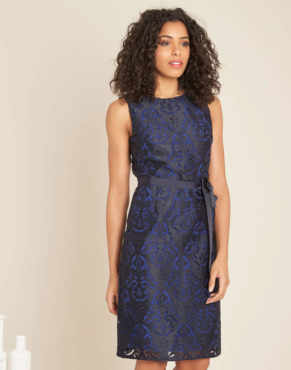Icone navy lace dress with grosgrain belt PhotoZ | 1-2-3