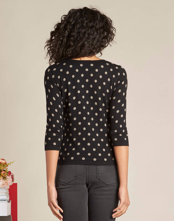 Narnia black polka dot sweater with 3/4 length sleeves (4) - 1-2-3