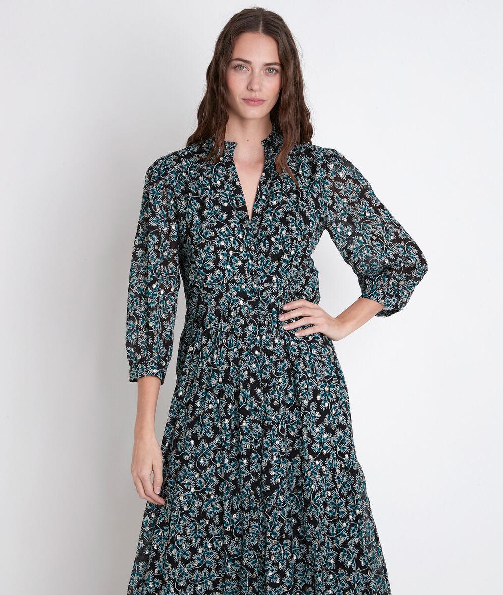Langes Kleid mit Printmuster zypressengrün Carola PhotoZ | 1-2-3