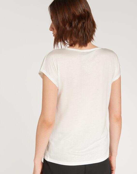 Ecrufarbenes T-Shirt mit Print Nicoleta (4) - 1-2-3