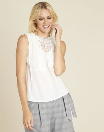 Corinne ecru lace top with silk ecru.