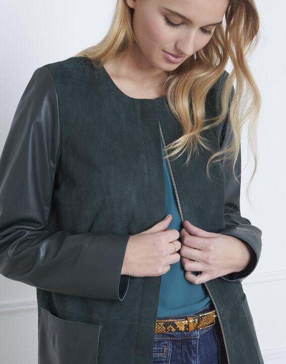 Manteau vert foncé en cuir Dtamara (3) - Maison 123