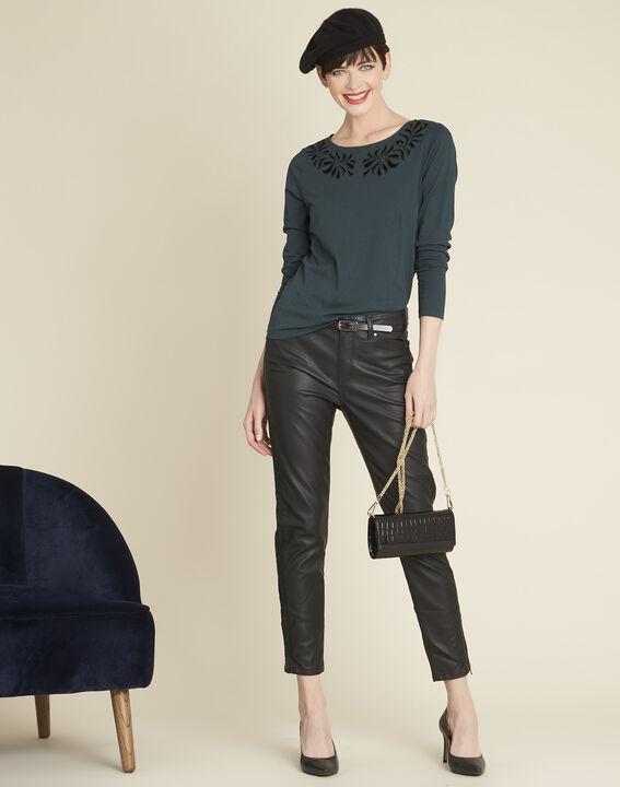 Tee-shirt noir encolure fantaisie Garoque (2) - 1-2-3