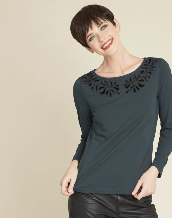 Garoque black T-shirt with decorative neckline PhotoZ | 1-2-3