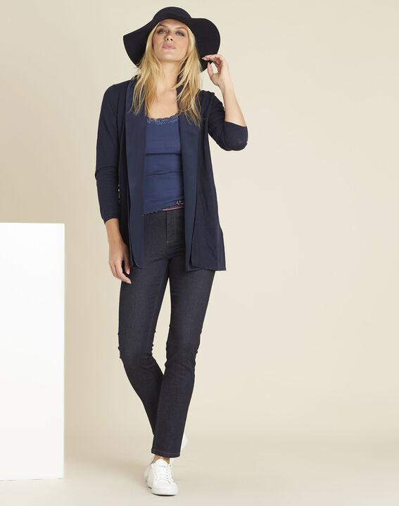 Rechte, onbewerkte jeans met geborduurde zakken Vivienne (2) - 37653