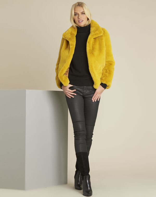 Manteau jaune fausse fourrure Emy (2) - 1-2-3