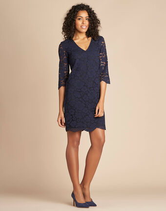 Poesie navy lace dress with side strip navy.
