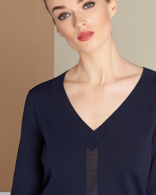 Marineblauer Pullover mit V-Ausschnitt und Zierstichen Nymphette (2) - 1-2-3