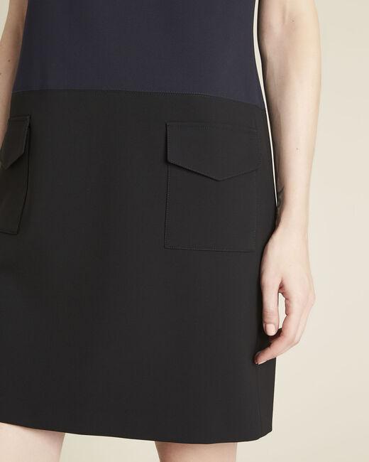 Donkerblauwe jurk van microvezel met vastgeplakte zakken Dolly (1) - 37653
