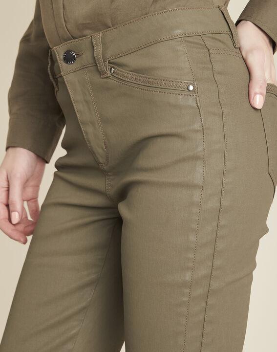Groene slim fit 7/8-jeans met coating Opera (3) - Maison 123