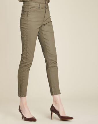 Grüne beschichtete 7/8 slim-fit-jeans opera kaki.