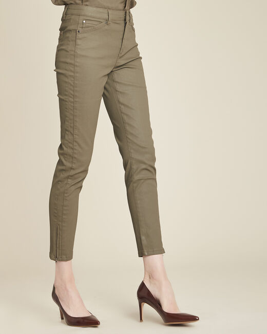 Opera green 7/8 length coated jeans (1) - 1-2-3