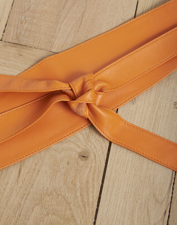 Ceinture en cuir large orange à nouer Raul PhotoZ   1-2-3