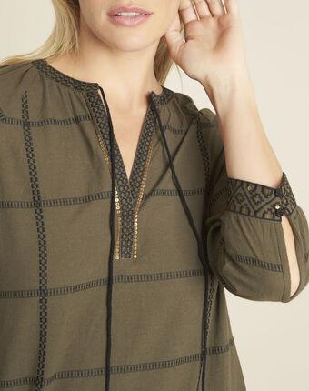 Khakifarbenes kleid mit ethno-print domino blattgrün.