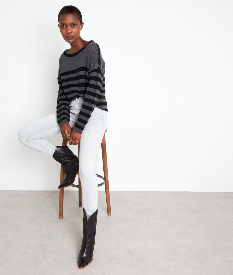 Pull en laine et cachemire rayé gris et noir Tiffany PhotoZ | 1-2-3