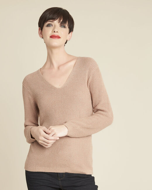Bonita pink fine-knit sweater with V-neck (2) - 1-2-3