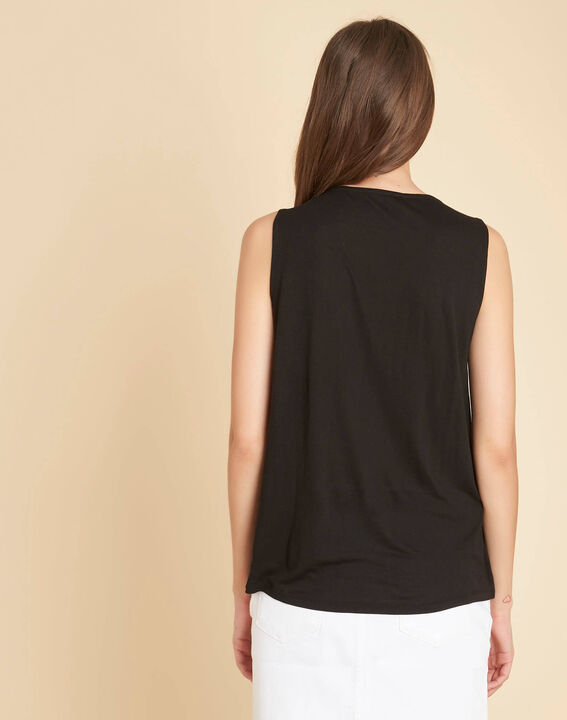Breeze dual-fabric embroidered black top with beading (4) - 1-2-3