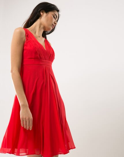 Loulou red dress in silk (3) - 1-2-3