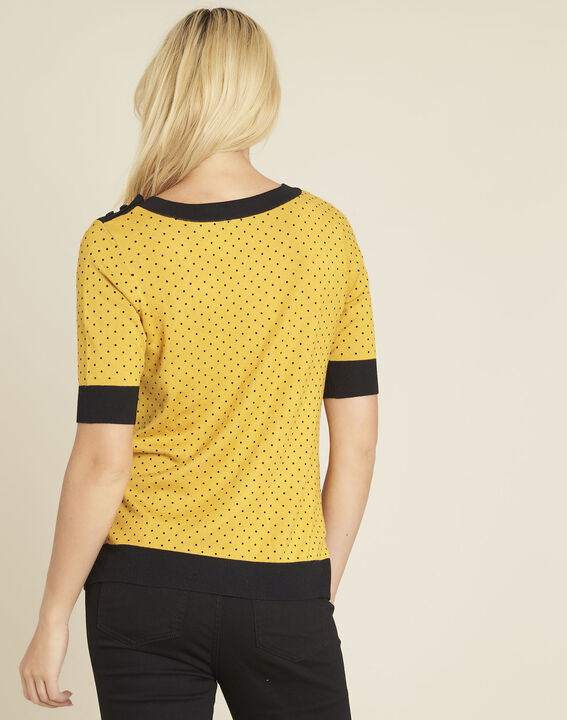 Becca yellow polka dot sweater with contrasting trim (4) - 1-2-3