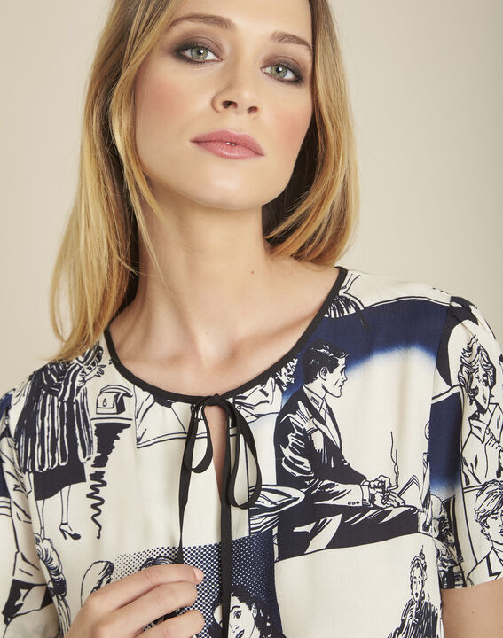 Clavier white printed blouse with tie (2) - 1-2-3