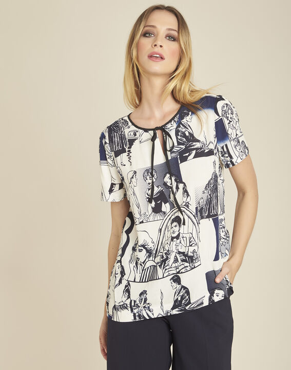 Clavier white printed blouse with tie PhotoZ | 1-2-3