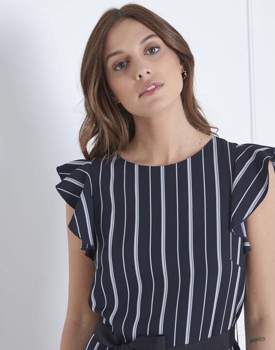 Marineblaues Kleid Streifen Rüschen Laure (3) - Maison 123