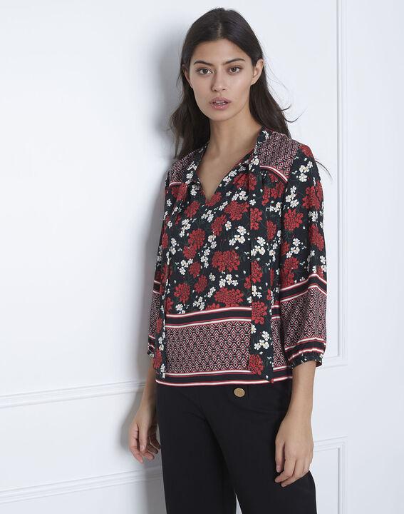 Schwarze Bluse mit Blumen-Druckmuster Vladia PhotoZ   1-2-3
