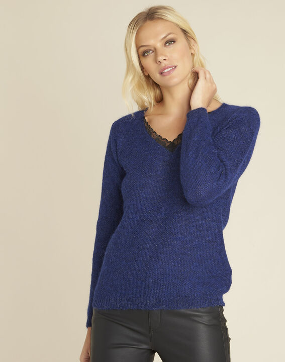 Bisou blue mohair mix pullover with lace neckline PhotoZ | 1-2-3