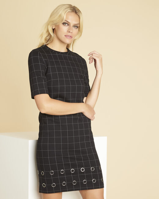 Davina black check dress with eyelets (2) - 1-2-3
