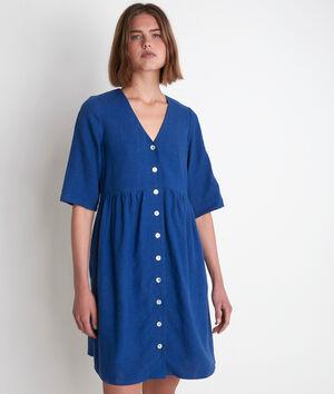 Robe en lin boutonnée bleue Lalou