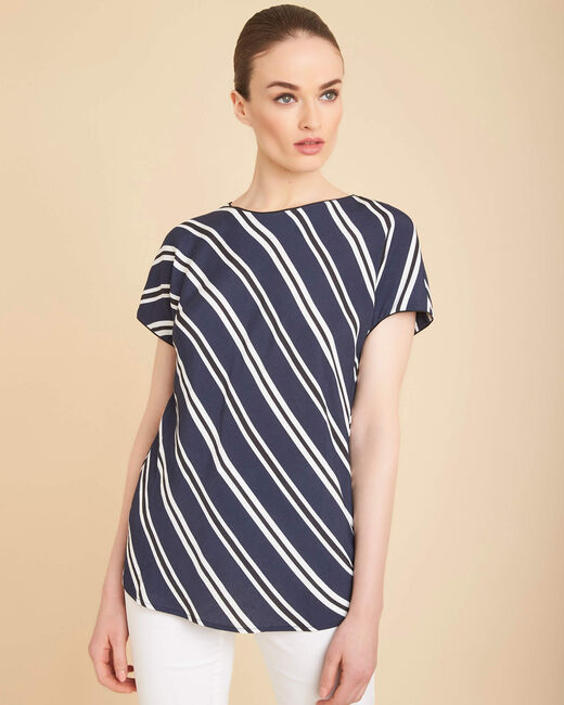 Gavin navy blue T-shirt with stripes (2) - 1-2-3