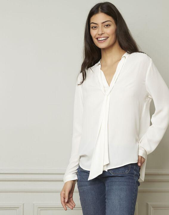 Witte blouse met lavallièrekraag Valence (1) - Maison 123