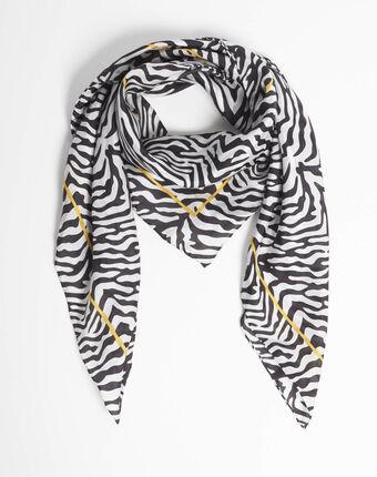Anouk zebra print black silk square scarf black.