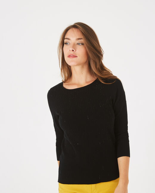 Pluie black sweater with diamante and round neck (1) - 1-2-3