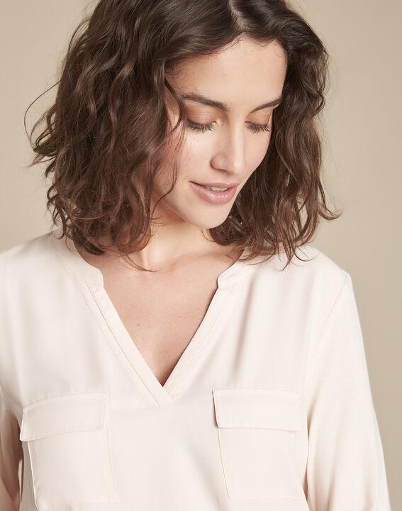 Nude T-shirt uit twee materialen met Tunesische kraag Genna (3) - 37653