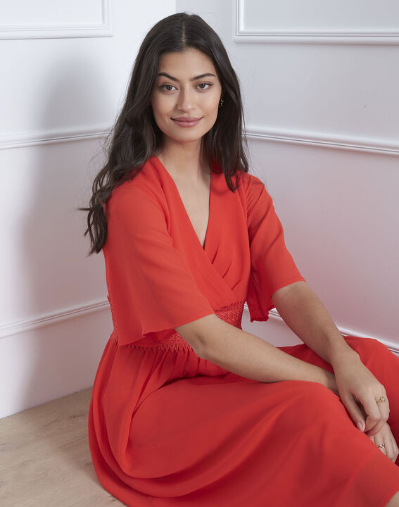 Robe rouge cache-coeur macramé Helene (2) - Maison 123