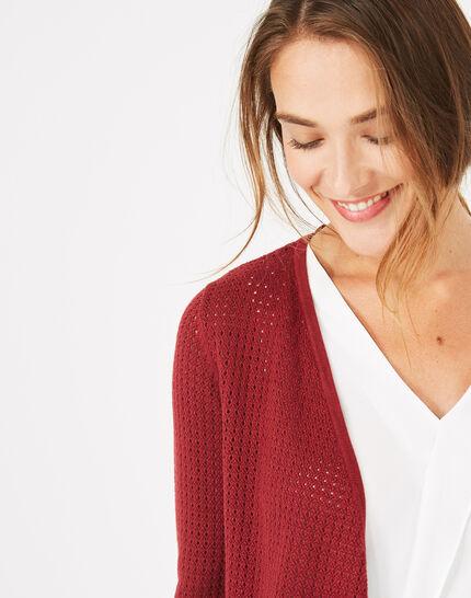 Palissade burgundy cardigan in an openwork knit (4) - 1-2-3