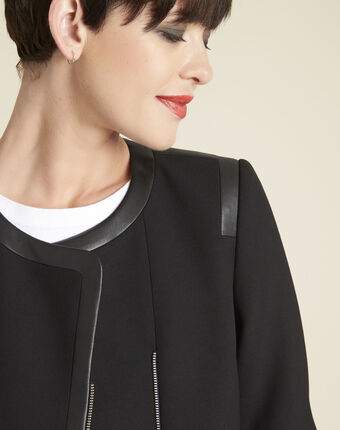 Veste noire compacte détails faux cuir saga noir.