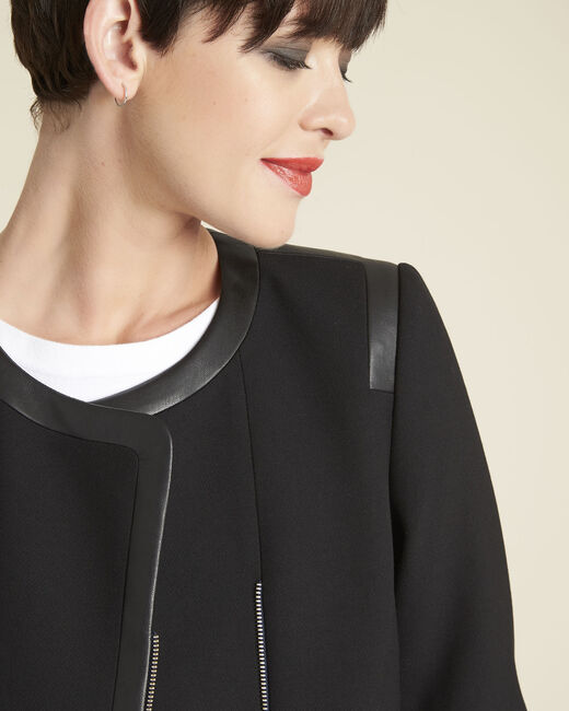 Saga compact black jacket with faux leather details (1) - 1-2-3