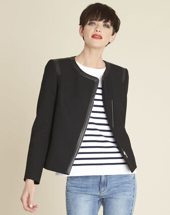 Saga compact black jacket with faux leather details black.